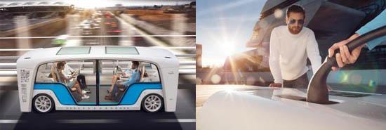 "Rinspeed的""Snap""概念车采用浩亭的超快速充电技术(右)"