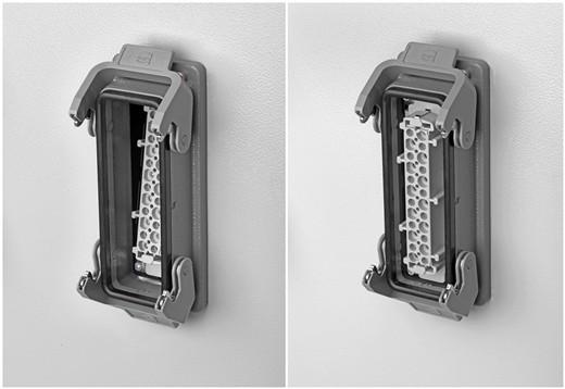 在Han® ES外壳内完成Han® ES Press触点插接件的后侧安装